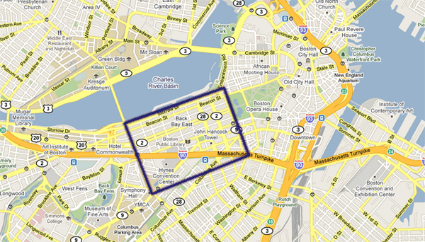 Back Bay Boston Map Photo Map of Boston's Back Bay Landmarks