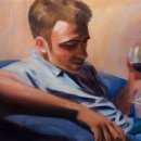 Aaron Drinking Wine - by Becky DiMattia
