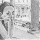 Lou at the Boston Public Library - by Becky DiMattia