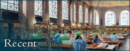 Becky DiMattia's painting of Bates Hall in the Boston Public Library: image link to gallery of recent paintings