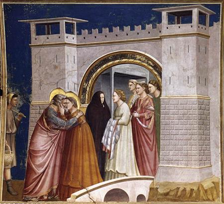 GIOTTO di Bondone No. 6 Scenes from the Life of Joachim: 6. Meeting at the Golden Gate 1304-06 Fresco, 200 x 185 cm Cappella Scrovegni (Arena Chapel), Padua