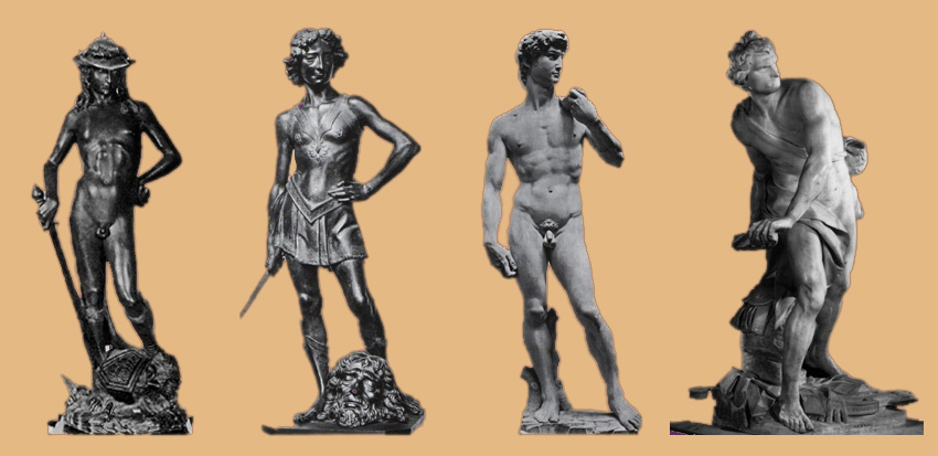 a comparison between the four sculptures of biblical david from 1430 to 1623 ad