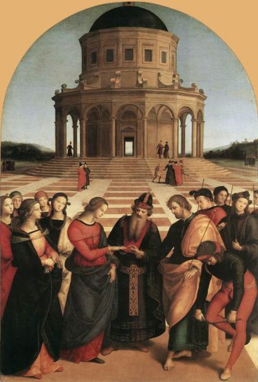 RAFFAELLO Sanzio Sposalizio (The Engagement of Virgin Mary) 1504 Oil on roundheaded panel, 170 x 117 cm Pinacoteca di Brera, Milan